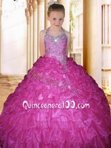 2014 Beautiful Hot Pink Halter Beading Floor-length Little Gril Pageant Dress