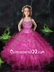 2014 Beautiful Hot Pink Little Girl Pageant Dress with Beading