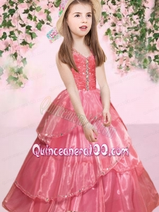 2014 Elegant Watermelon V-neck Ball Gown Little Girl Pageant Dress with Beading