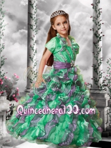 2014 Popular Spaghetti Straps Beading Little Girl Pageant Dresses in Green and Purple