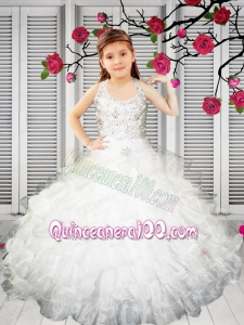 2014 Pretty Ball Gown Halter Beading Little Girl Pageant Dress