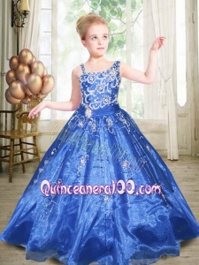Ball Gown Asymmetrical Royal Blue Beading Little Gril Pageant Dress