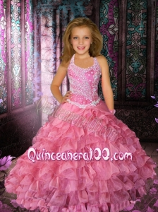 Ball Gown Pink Floor-length Beading Little Gril Pageant Dress
