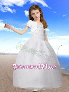 Beautiful Ball Gown Beading Little Girl Pageant Dresses with Straps for 2014