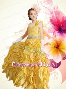 Beautiful One Shoulder Column Ruffles 2014 Little Girl Pageant Dress in Gold
