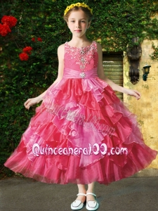 Beautiful Straps Ankle-length Little Girl Pageant Dress with Beading for 2014