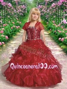 Beautiful Straps Ball Gown Wine Red Little Girl Pageant Dresses for 2014