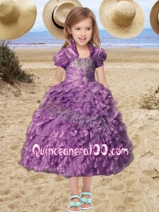 Beautiful Straps Tea-length Little Girl Pageant Dress with Beading Ruffles in Purple for 2014