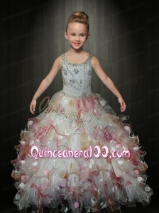 Cute Ball Gown Straps Multi-color Little Gril Pageant Dress with Beading
