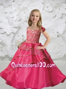 Elegant Spaghetti Straps Little Girl Pageant Dresses with Beading