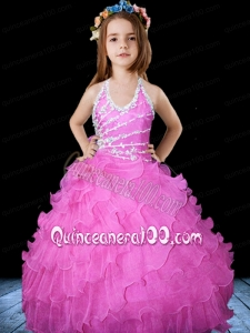 Hot Pink Halter Floor-length Little Gril Pageant Dress with Beading
