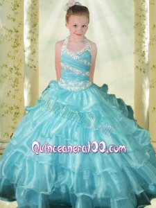 Light Blue Ball Gown Blue Halter Little Gril Pageant Dress with Beading