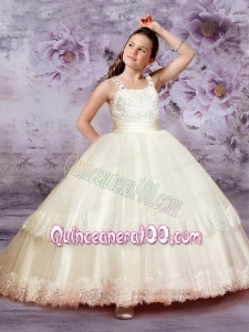 Luxurious Ball Gown Straps 2014 Little Girl Pageant Dress with Belt Beading