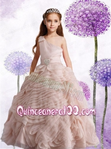 Popular Champagne One Shoulder Ball Gown Little Girl Pageant Dress with Beading for 2014