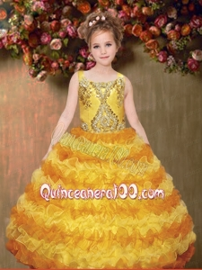 Pretty Ball Gown Yellow Straps Beading Little Girl Pageant Dresses with Ruffles for 2014