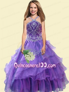 2014 Elegant A-Line Halter Beading Little Girl Pageant Dress in Purple