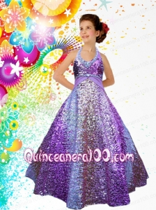 Unique A-Line Halter Floor-length Little Girl Pageant Dress with Paillette