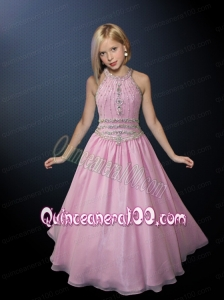 Wonderful A-line Halter Floor-length Little Girl Pageant Dress in Pink