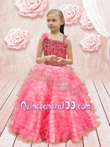 2014 Asymmetrical Beautiful Little Girl Pageant Dress with Appliques Ruffles in Watermelon