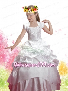 Beautiful Ball Gown Spaghetti Straps Appliques Little Girl Pageant Dresses in White