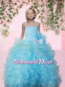 Custom Made Aqua Blue Straps Little Girl Pageant Dresses With Beading