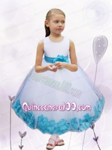 White and Blue Scoop Ball Gown Ankle-length Tulle Flower Girl Dress for 2014