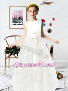 2014 A-Line Scoop Satin Floor-length Flower Girl Dress with Bowknot