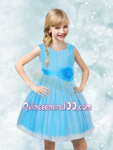 A-Line Scoop Ruching and Hand Made Flowers Flower Girl Dress for 2014