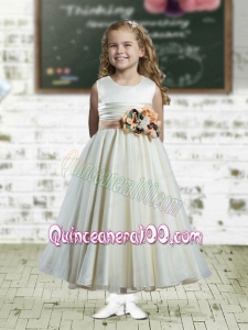 A-Line Scoop Ruffles and Hand Made Flowers 2014 Flower Girl Dress in White