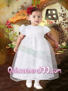A-Line Tea-length Short Sleeves Formal Flower Girl Dress with Appliques and Ruffles