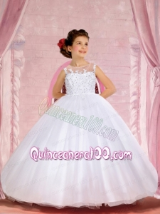 Elegant Ball Gown Appliques Bateau Floor-length Flower Girl Dress for 2014