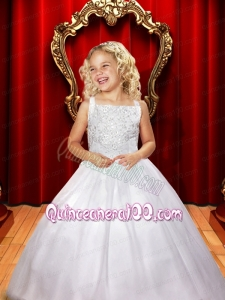 Simple Beading Square A-Line Floor-length Tulle Flower Girl Dress for 2014