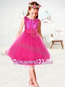 2014 Sequins and Hand Made Flowers Organza Flower Girl Dress in Hot Pink