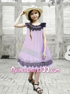 A-Line Beading and Lace Knee-length Chiffon Flower Girl Dress in Lavender