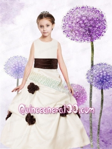 A-Line Scoop Taffeta Floor-length Hand Made Flowers 2014 Flower Girl Dress with Sashes