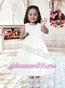 A-Line Scoop Tea-length Flower Girl Dress with Beading for 2014
