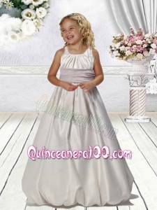 A-Line Straps Flower Girl Dress with Belt Ruching in White for 2014