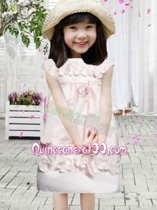Appliques Bateau Short Sleeves Zipper-up Satin Flower Girl Dress in Baby Pink