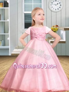 Ball Gown Floor-length Ruching and Appliques Square Flower Girl Dress for 2014