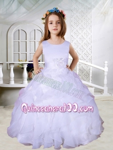 Ball Gown Scoop Hand Made Flowers Flower Girl Dresses in Lavender