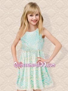 Beautiful Scoop Mini-length Short Flower Girl Dress with Appliques