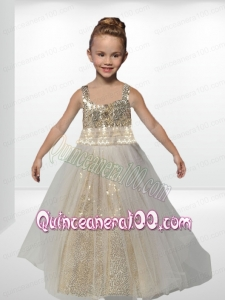 Champagne Straps Floor-length Paillette Flower Girl Dresses with A-Line