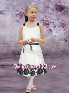 Cheap Straps Tea-length Flower Girl Dress with Appliques