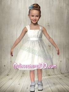 Cute Princess Square Knee-length Flower Girl Dresses with Zipper-up