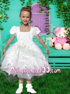 Fashionable Square Ball Gown Tea-length Flower Girl Dresses