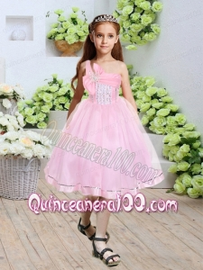 One Shoulder A-Line Knee-length Beautiful Flower Girl Dress with Beading