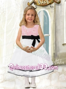 Popular A-Line Scoop Tea-length Flower Girl Dresses with Bowknot