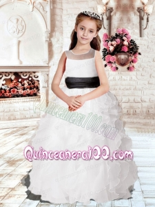 Popular Ball Gown Floor-length 2014 Flower Girl Dress with Sashes and Ruffles