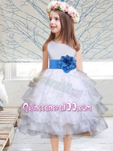 Popular Hand Made Flowers Knee-length 2014 Flower Girl Dress with Sashes and Ruffles