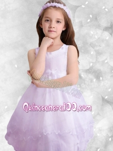 Popular Scoop A-Line Knee-length 2014 Flower Girl Dress with Appliques and Ruffles